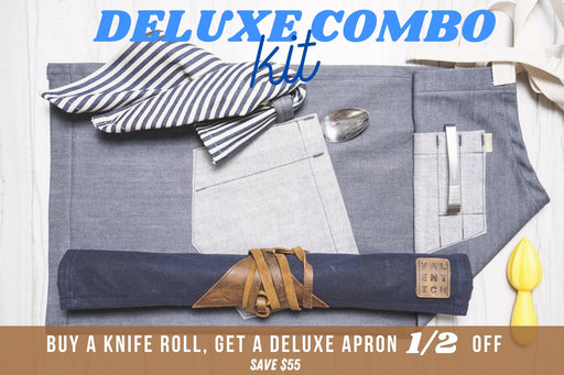 Deluxe Chef Apron + Knife Roll Combo Kit - Valentich Goods