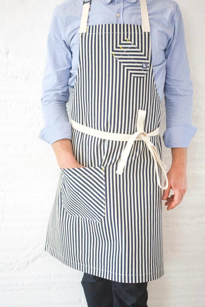 Indigo + Cream Striped Chef Apron - Valentich Goods