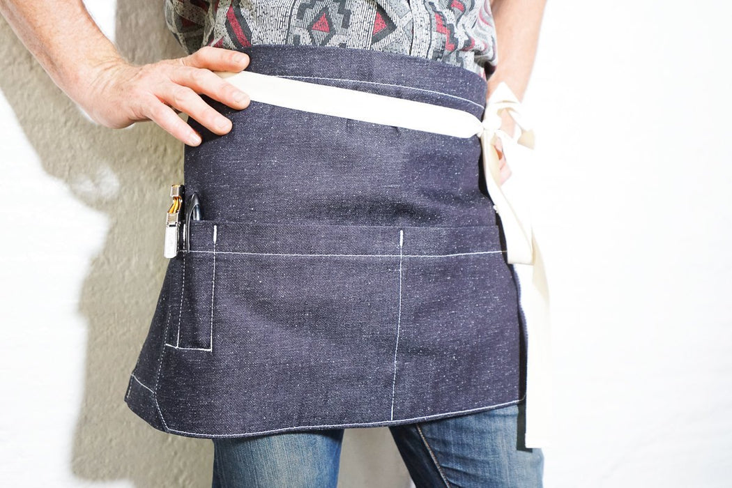 Shorty Server Apron - Speckled Indigo - Valentich Goods