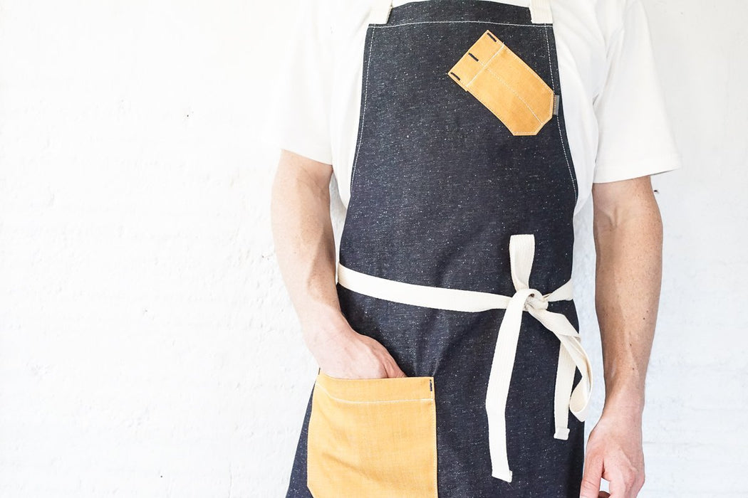 Speckled Indigo + Yellow Chef Bib Apron - Valentich Goods