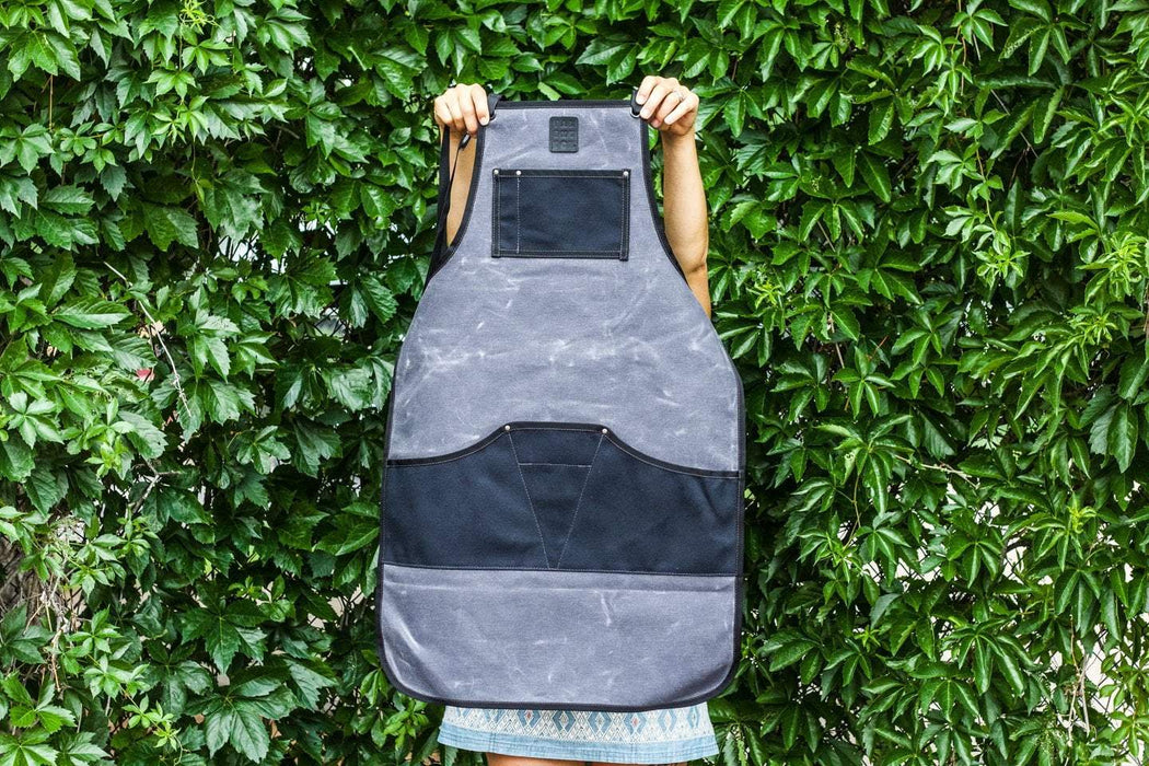 Waxed Canvas Work Apron -- Charcoal + Black - Valentich Goods