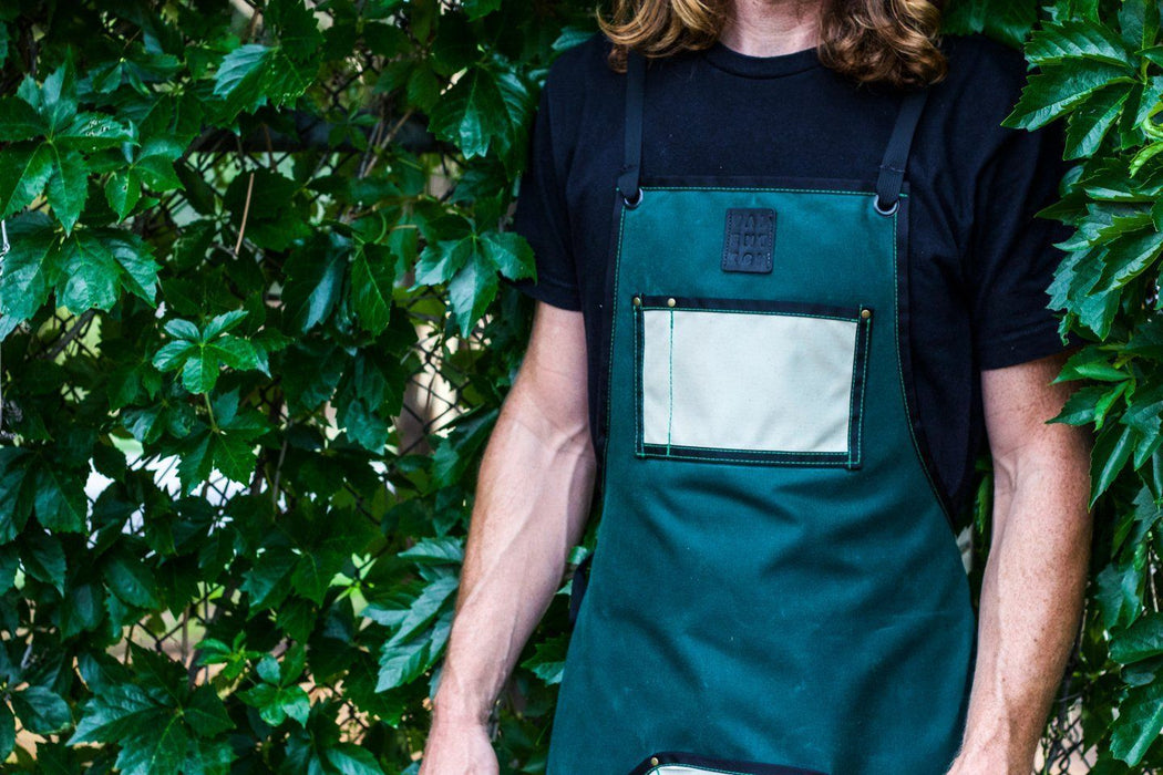 Waxed Canvas Work Apron -- Emerald + Ivory - Valentich Goods