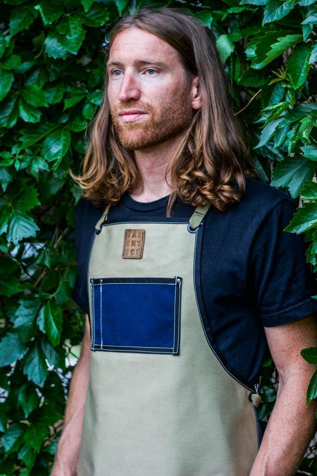 Waxed Canvas Work Apron -- Ivory + Blue - Valentich Goods