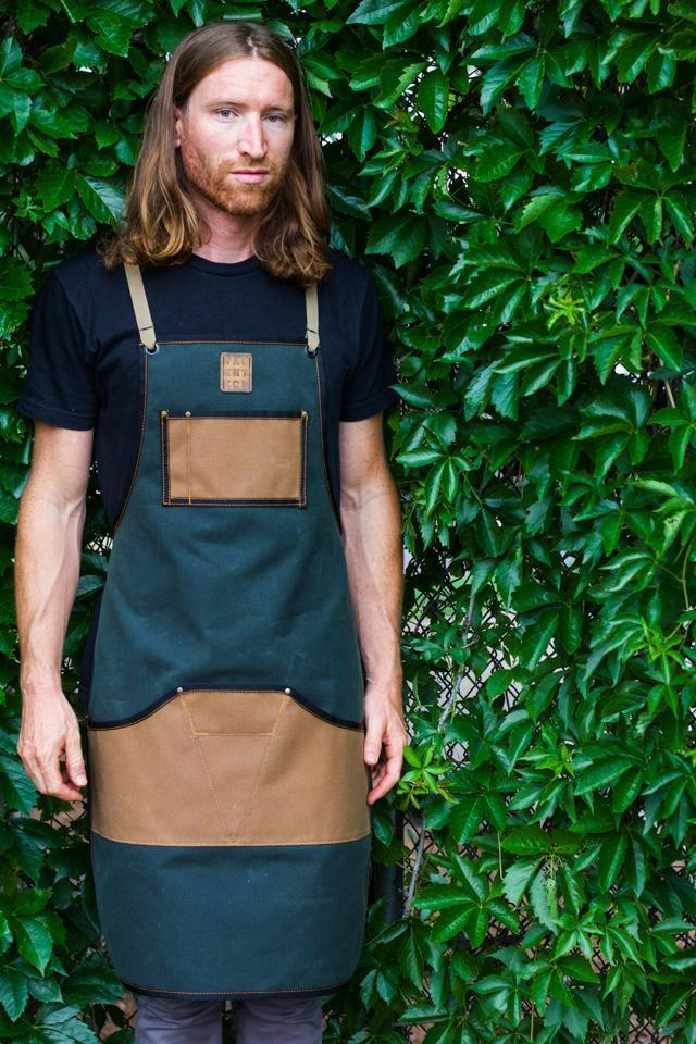 Waxed Canvas Work Apron -- Moss + Field Tan - Valentich Goods