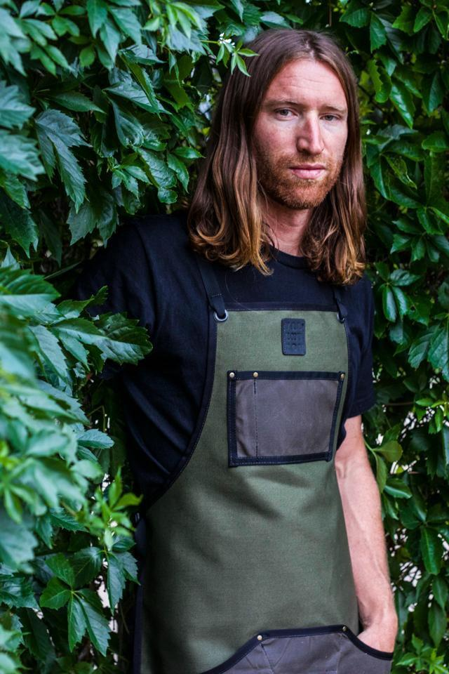 Waxed Canvas Work Apron -- Moss + Walnut - Valentich Goods