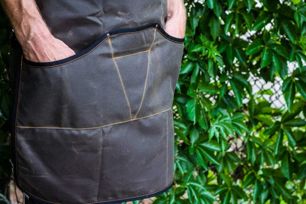 Waxed Canvas Work Apron -- Walnut - Valentich Goods