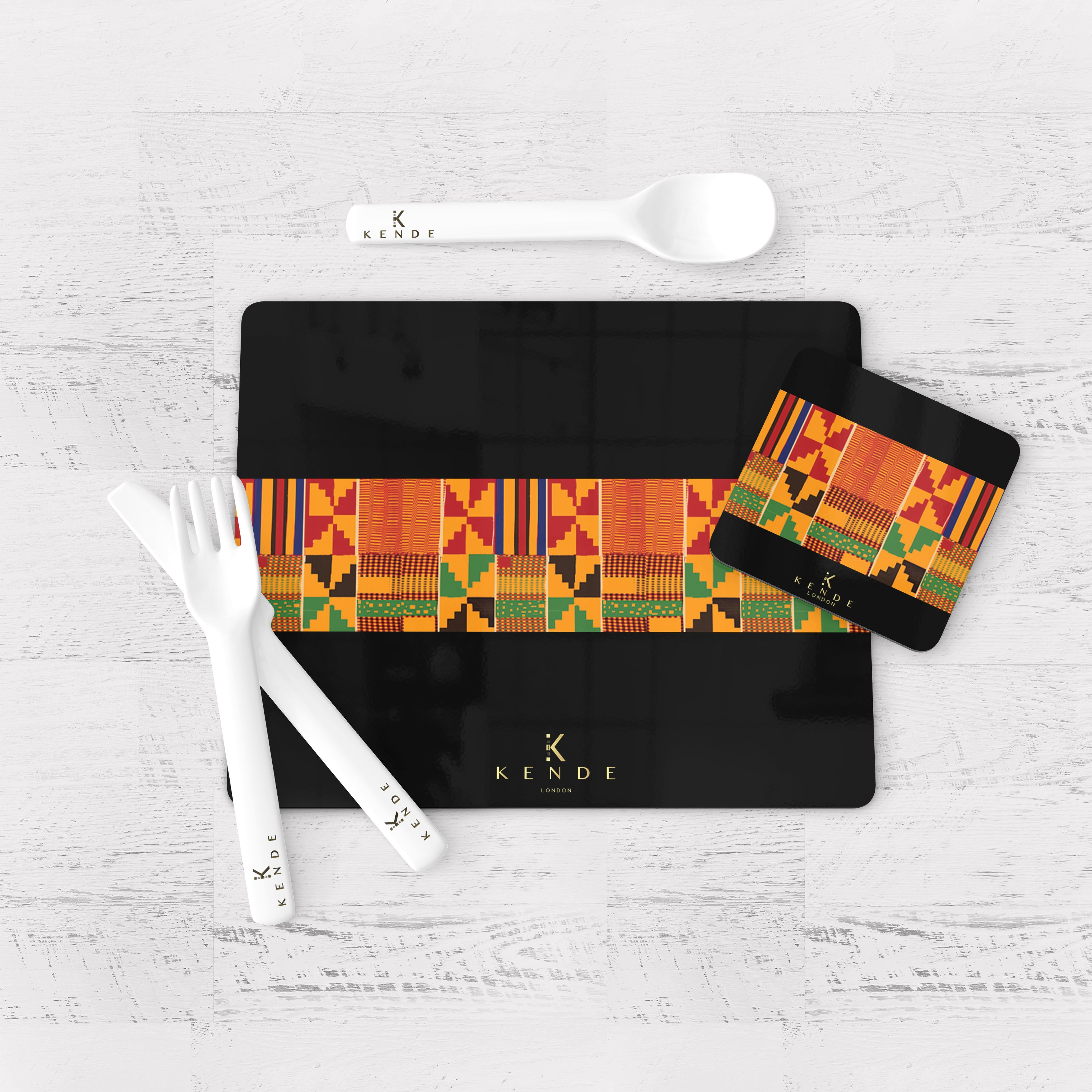 Zaina Black Placemats and Coasters