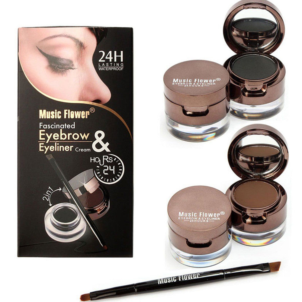 2in1 Brown+Black Eyeliner Gel & Eyebrow Powder Makeup Waterproof Set with Brush - LM cosmetics