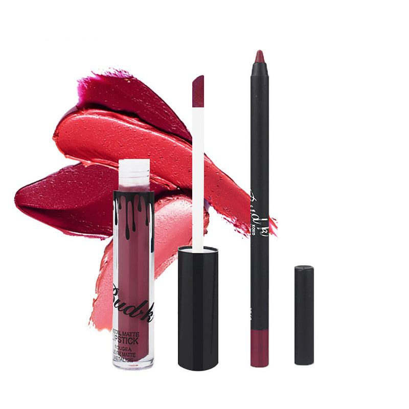 Long Lasting Waterproof Matte Liquid Gloss Lip Liner Cosmetics Set - LM cosmetics