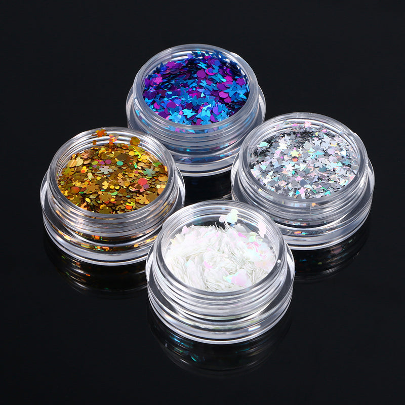 4 Colors Glitter Powder Chunky Glitter Cosmetic Paillette Face Body Hair Nails Make Up - LM cosmetics