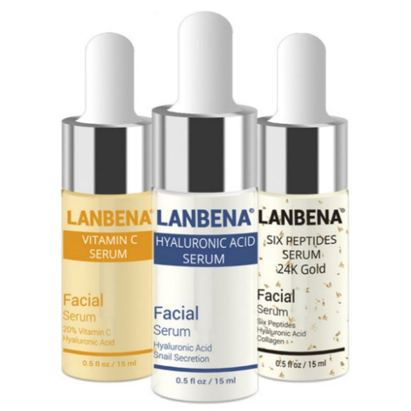 LANBENA 3PCS Facial Serum Set Hyaluronic Acid + Vitamin E + 24K Gold Anti Aging Wrinkle Moisturizing - LM cosmetics