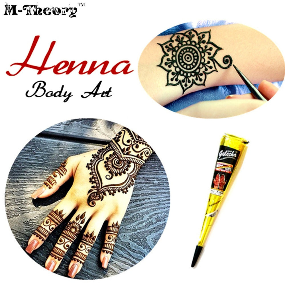 Ladies Fashion Henna Paste Cone Temporary Tattoo Makeup Tool 100% Safe Waterproof - LM cosmetics
