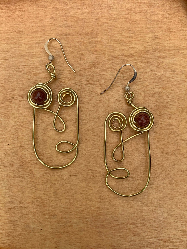 Brown Goldstone Earrings