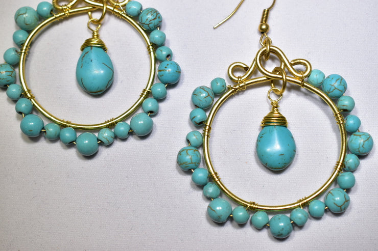 Turquoise Stone Earrings - Golenza Gallery