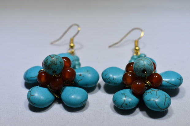 Turquoise and Agate Earrings - Golenza Gallery