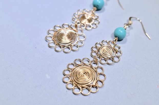 Turquoise Earrings with 14K Gold Filled Wire - Golenza Gallery