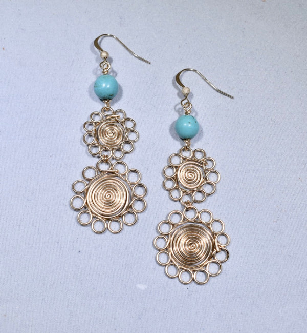 Turquoise Earrings with 14K Gold Filled Wire