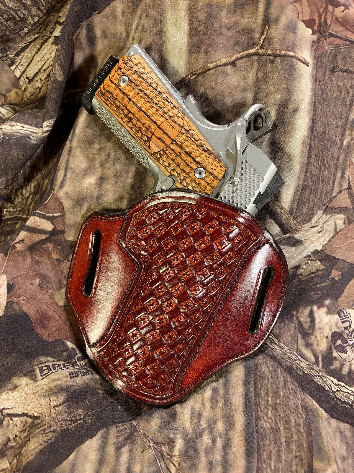GIBSON 1911 LEATHER HOLSTER RH CARRY OWB BISMARCK BROWN STAR BASKET STAMPED IN-STOCK