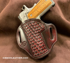 "GIBSON 1911 LEATHER HOLSTER BLACK CHERRY BASKET LEFT-HAND CARRY 4"" OR 4.25"""