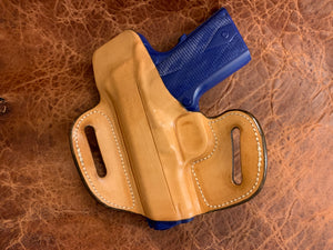 "IN-STOCK GIBSON 1911 3"" OWB LEATHER PANCAKE HOLSTER NATURAL WITH SWEAT SHIELD 20-DEGREE RAKE"