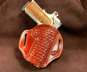 "Gibson Leather 1911 4"" or 4.25"" OWB Holster Light Brown Alpha Rope Basket with Floral Border RH"