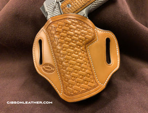 "GIBSON 1911 LEATHER HOLSTER NATURAL STAR BASKET LEFT-HAND CARRY 4"" OR 4.25"""