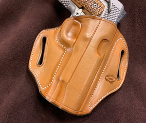 "GIBSON NATURAL 1911 4""-4.25"" COMMANDER HOLSTER RH CARRY OWB WHITE STITCHING"