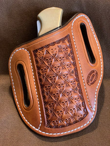 Gibson Skull Stamped Leather Knife Sheath for the Buck 112 in Natural Hermann Oak. Right-hand carry.