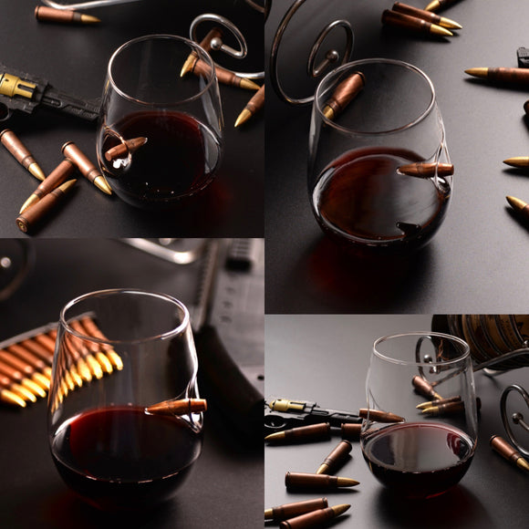 Caliber Wine Glass with embedded bullet