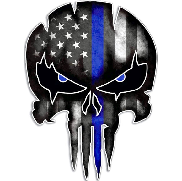 Punisher Skull Blue Line Decal
