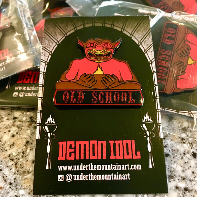 Old School Demon Idol Enamel Pin
