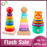 Rainbow Stacking Ring Tower Stacking Folding Cup Stapelring Blocks Wood Plastic Toddler Toy Baby Toys Infant Toys GYH