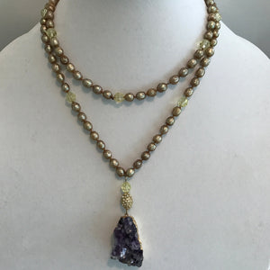 Gold Tinted Fresh Water Pearl & Amethyst Mala
