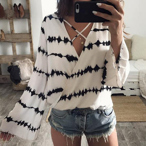 Loose Long Sleeve Stripe Printed Tops Casual White Chiffon Blouse kimono