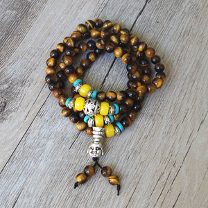 Tiger Eye Tibetan Buddha Mala Beads (108)