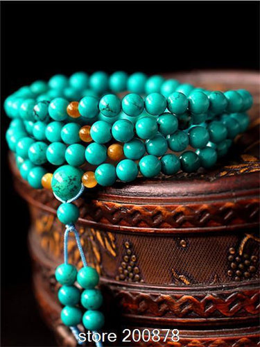 BRO536  Tibetan 108 beads 6/8mm GREEN Enhanced Stone Meditation Prayer beads Mala Necklace Gilrs summer Stone  Bracelets