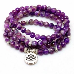 Natural Purplr Crystal Mala Bracelet or Necklace with Lotus Pendant