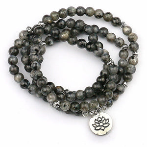 Flash Stone Mala With Yoga Lotus  Pendant