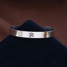 Stainless Steel OM Ohm Yoga  Cuff Bangle Bracelet
