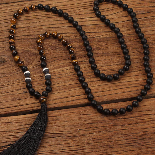 Tiger Eye & Matte Black Agate Meditation Mala
