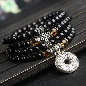 Black Prayer Beads Convertible Mala Beads