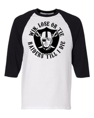 Raiders 4 Life Baseball 3/4 Sleeve Baseball Tee