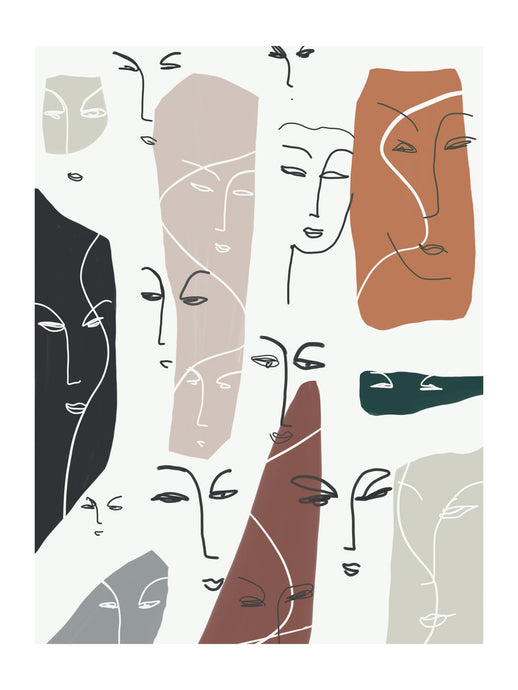 Faces Art Print 30x40cm with a White Border