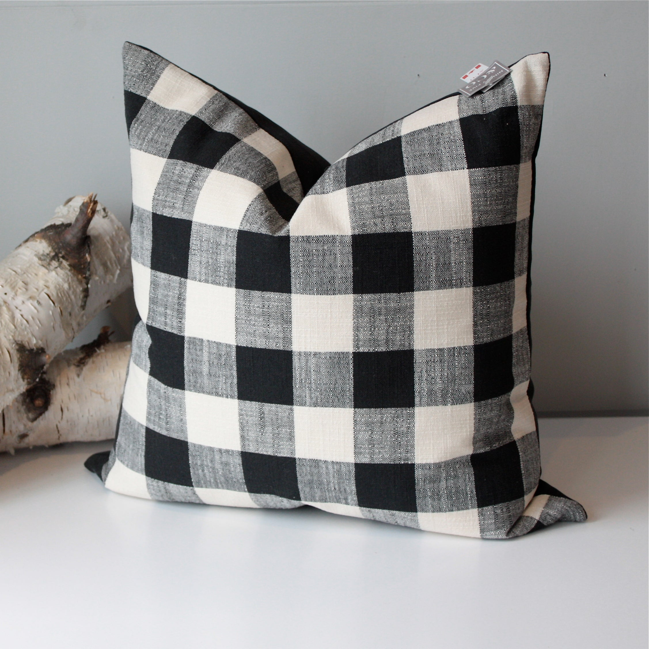 Black and White Buffalo Check Throw Pillow