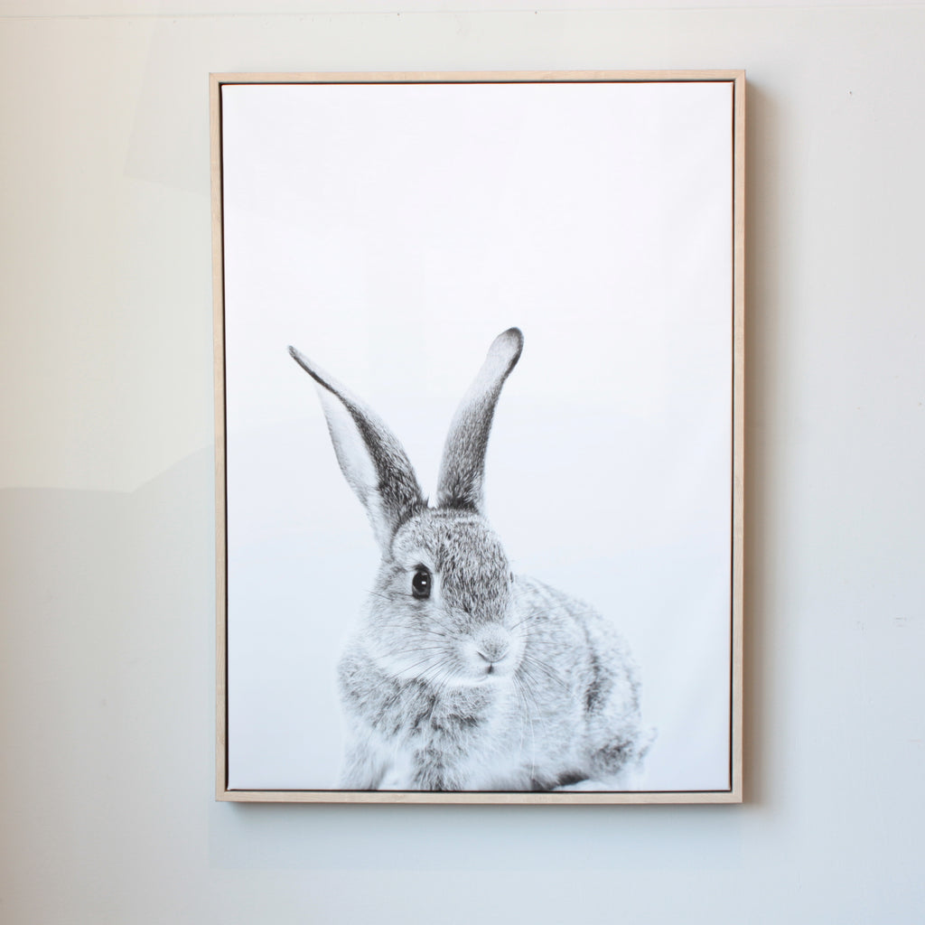 Peekaboo Bunny Framed Canvas Print