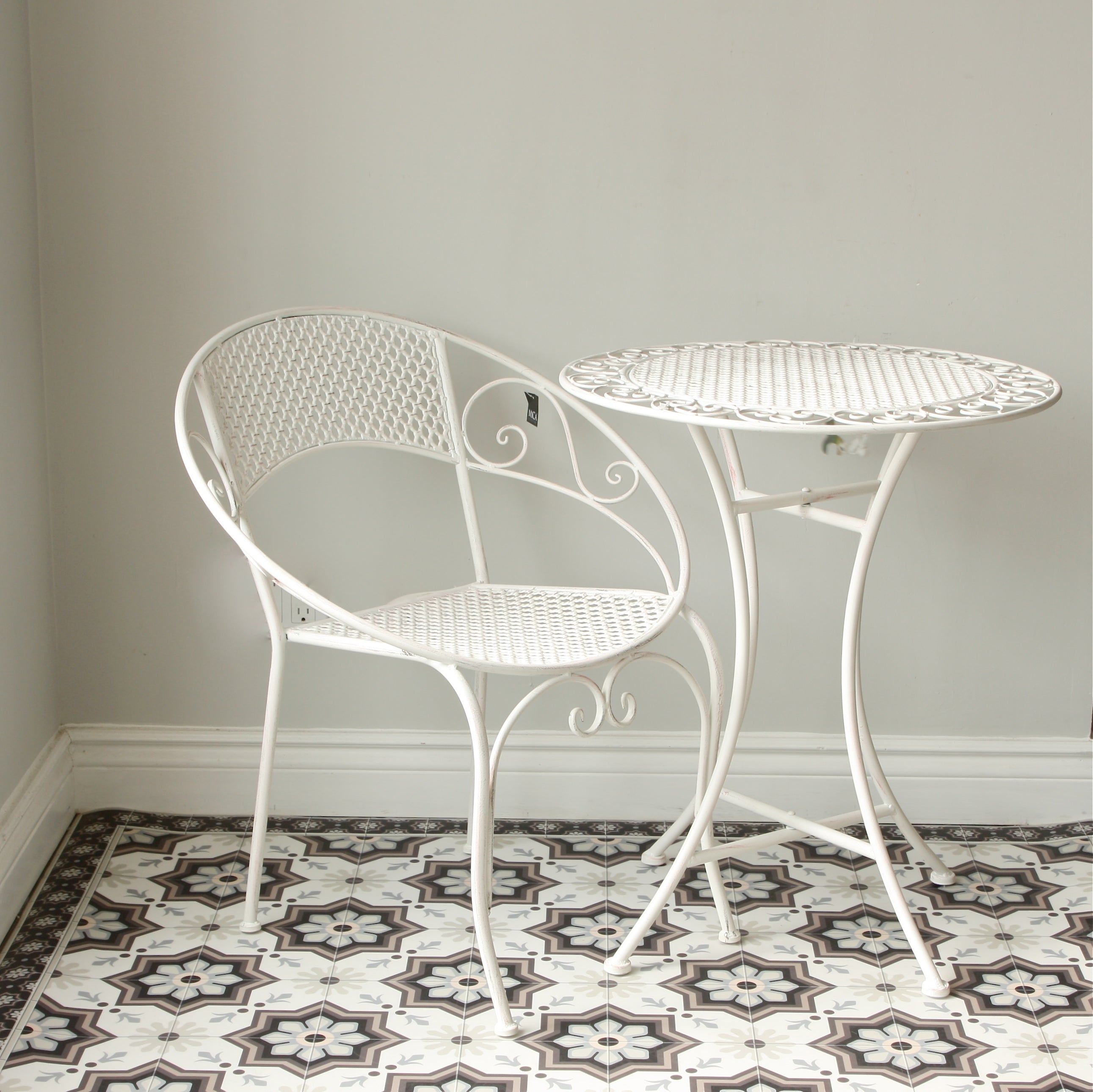 White Metal Bistro Set