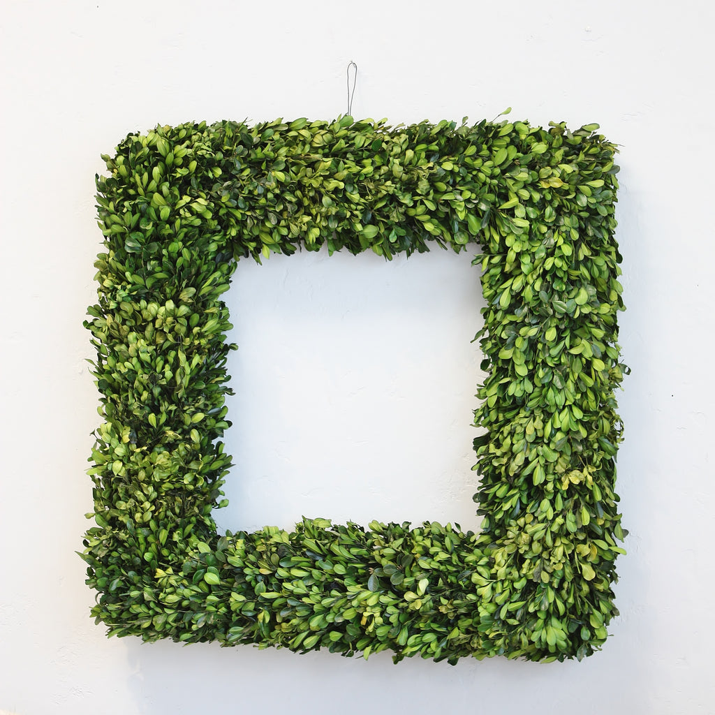 Preserved Boxwood Square Wreath