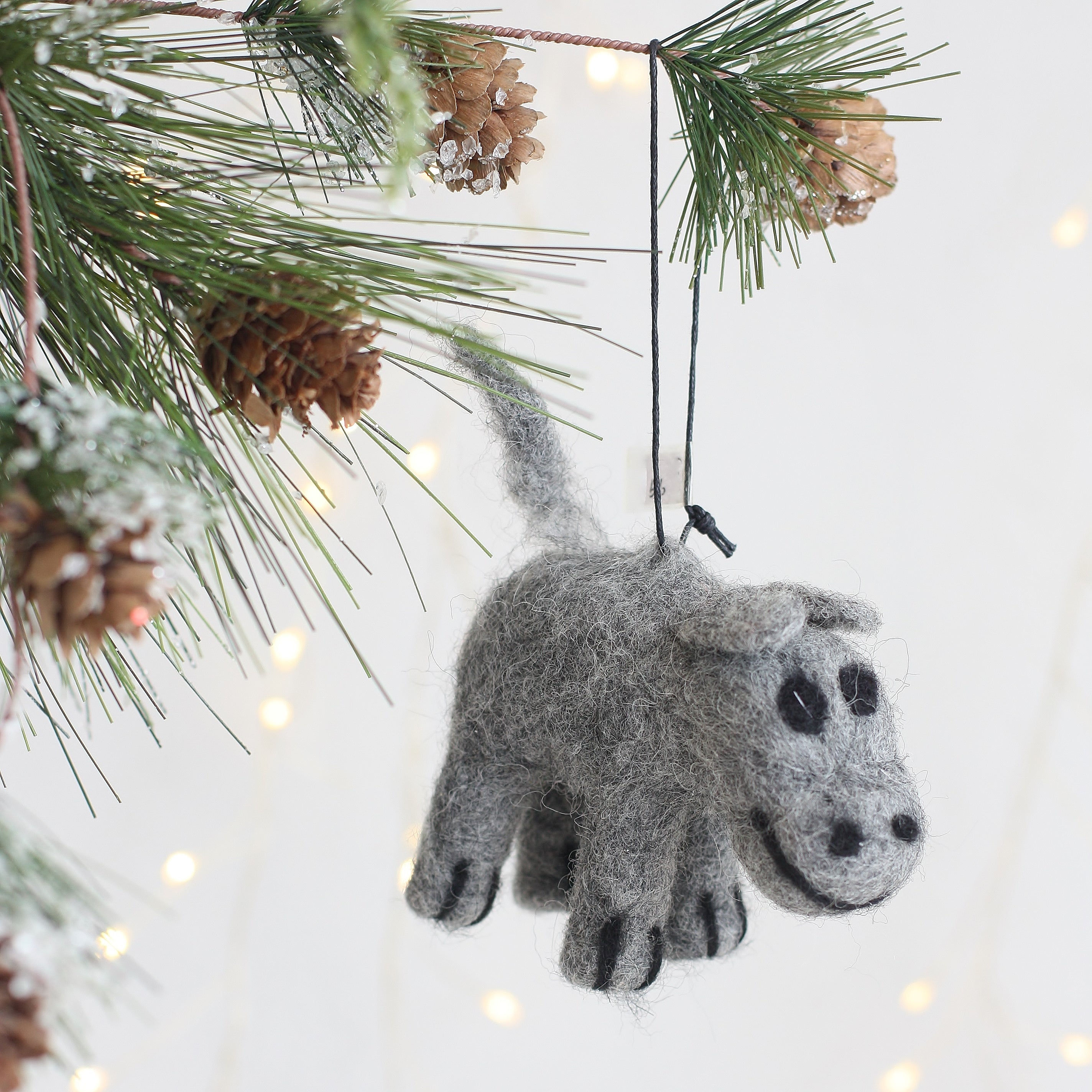 Felted Hippo Ornament