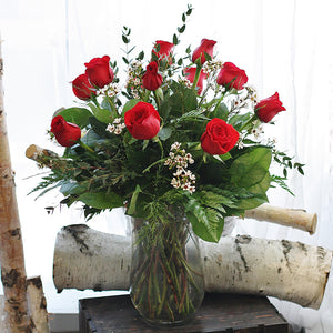 Long Stem Red Roses in a Vase