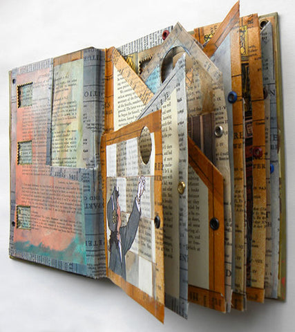 altered book art journal with washi tape